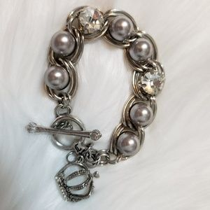 Juicy Couture silver bead and rhinestone bracelet